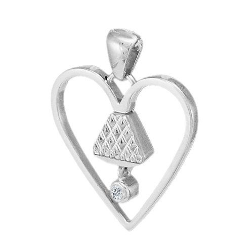 "Equine .75"" Cubic Zirconia Pendant - Silver"