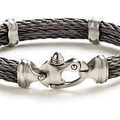 Double Live Wire Cable Bracelet with Mariner's Clasp