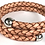 Thumbnail: Bolo Braid Leather Bypass Bracelet with Stainless Steel Ball Caps