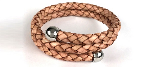 Bolo Braid Leather Bypass Bracelet with Stainless Steel Ball Caps