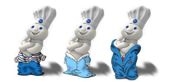 custom illustration of Pillsbury doughboy in different outfits