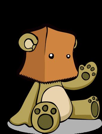custom cartoon teddy bear in a paper bag logo