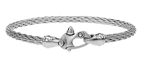 4.5MM Live Wire Bracelet with Mariners Clasp in White Steel