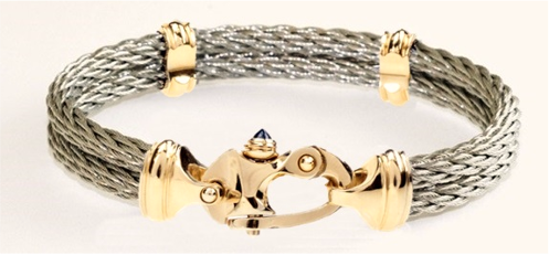 Nouveau Braid® Double Cable Bracelet with 14K Gold Mariner's Clasp® and Caps