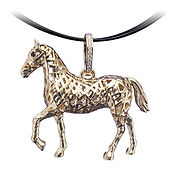 14K Gold Ribbon Horse Pendant