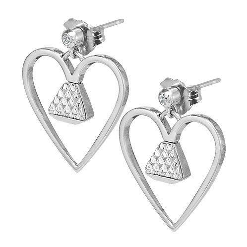 """Equine .75"""" Dangle Earrings with Cubic Zirconia - Silver"""