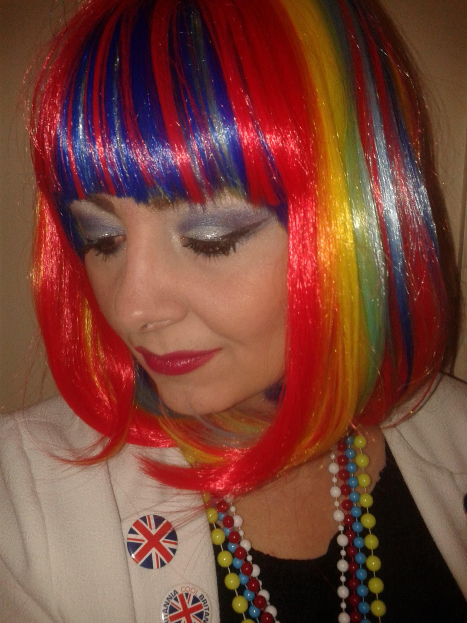 Leah-rainbow wig-60s band Kent