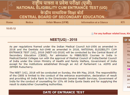 NEET UG 2018 (For BDS/MBBS Admission) in India (cbse neet 2018)