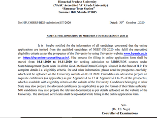 Online MBBS/BDS 2020 counselling registration form - Notification