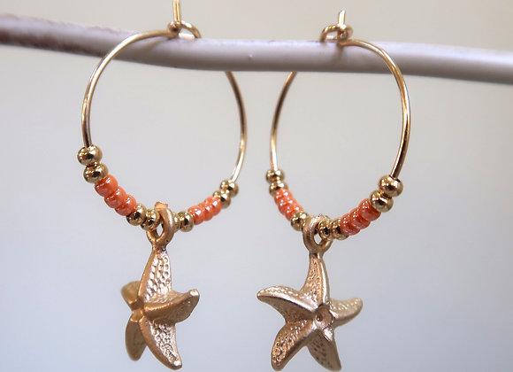 Apricot Starfish (Small hoop)