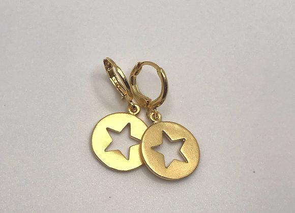 Gold Star Charm Huggies