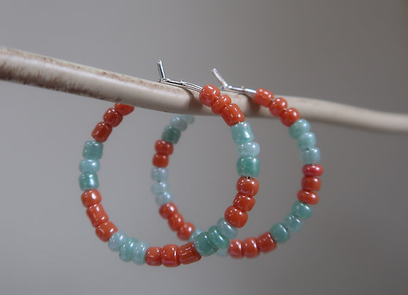 Orange/Turquoise (Small Hoop)