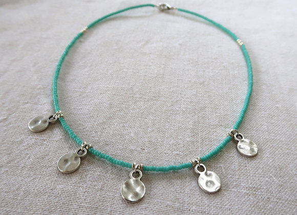 5 Silver Coins - Turquoise