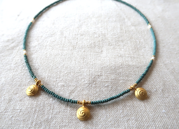 3 Gold Coins - Teal & Blue