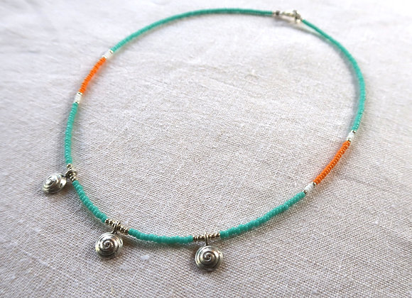 3 Silver Coins - Turquoise & Orange