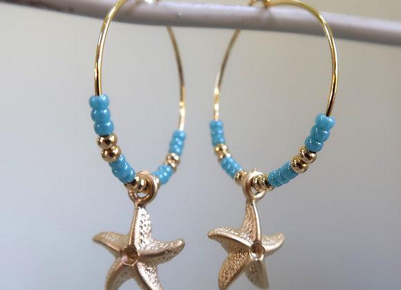 Blue Turquoise Starfish (Medium Hoop)