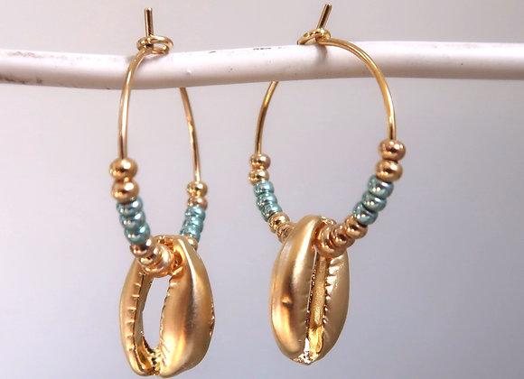 Metallic Turquoise Shells (Small hoop)