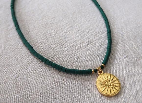 Dark Green Sundial Necklace