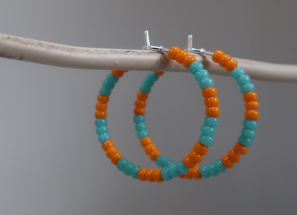 Neon Orange & Turquoise (Small Hoop)