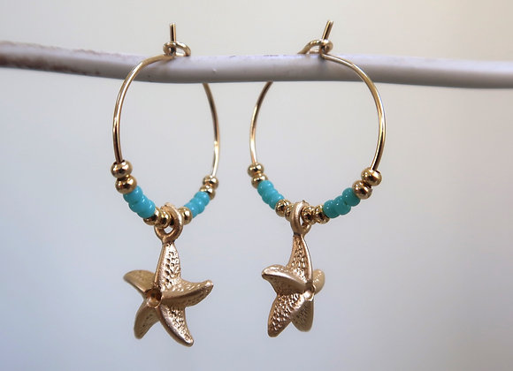 Green Turquoise Starfish (Small hoop)