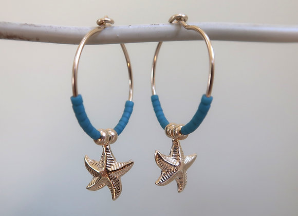 Gold Filled Teal Starfish