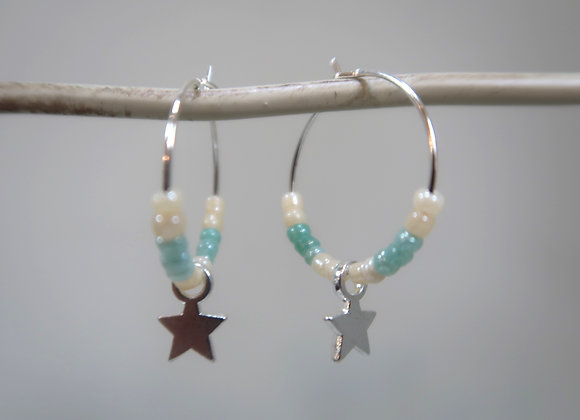 Turquoise/White Star (Small Hoop)