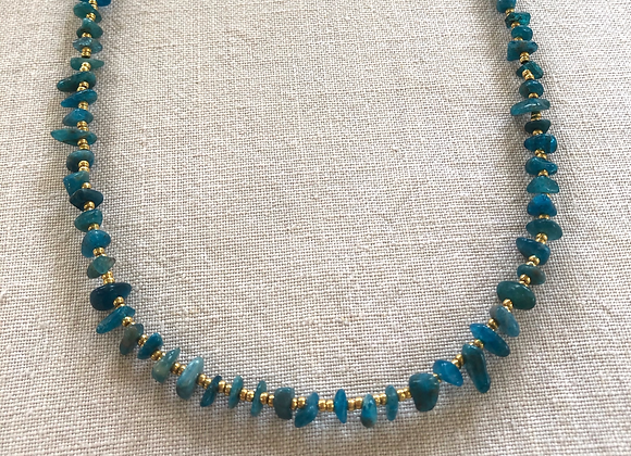 Teal Blue Apatite Crystal Necklace