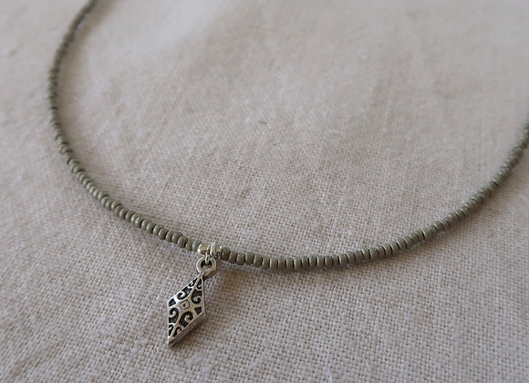Pewter Diamond Necklace