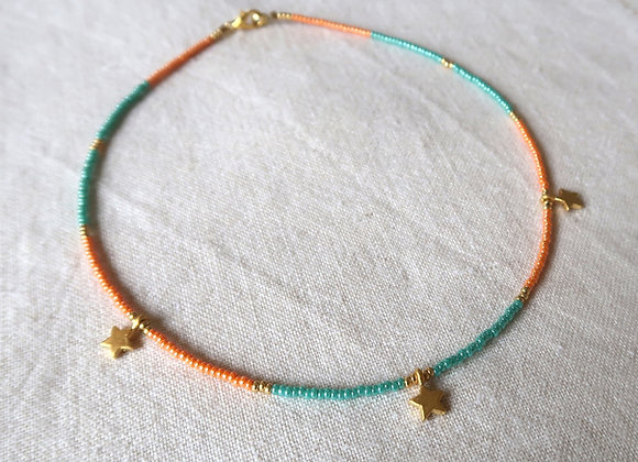3 Stars Gold - Turquoise & Orange