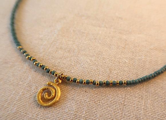Gold Spiral - Teal