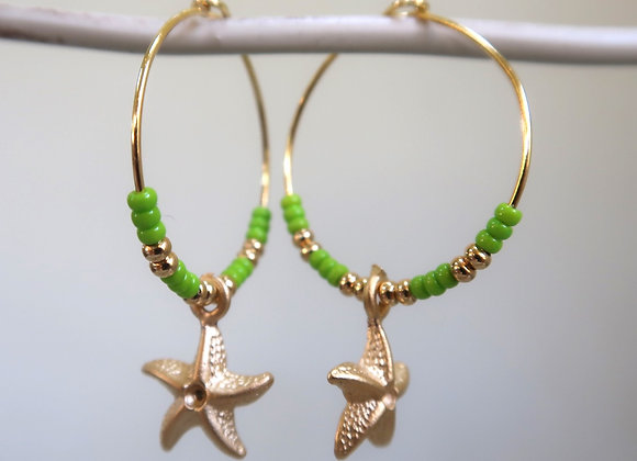 Lime Starfish (Medium hoop)