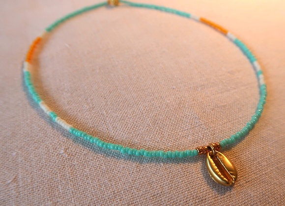 Gold Shell - Turquoise & Orange