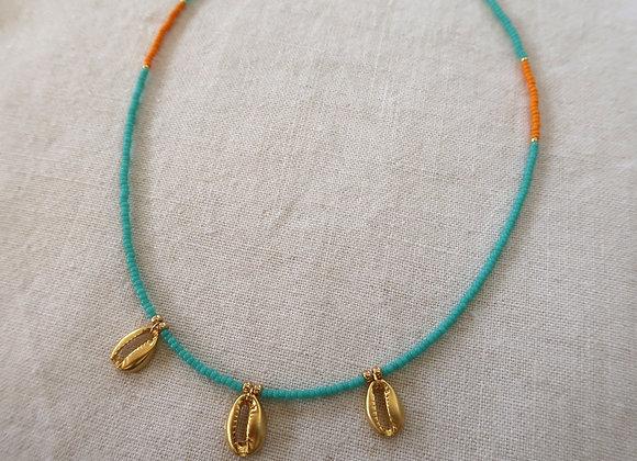 Gold Shells - Turquoise & Orange
