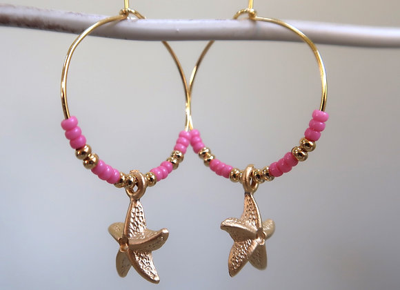 Pink Starfish (Medium hoop)