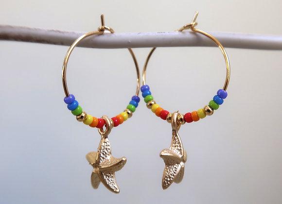 Rainbow Starfish (Small hoop)