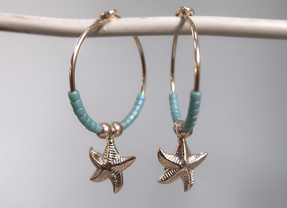 Gold Filled Aqua Starfish
