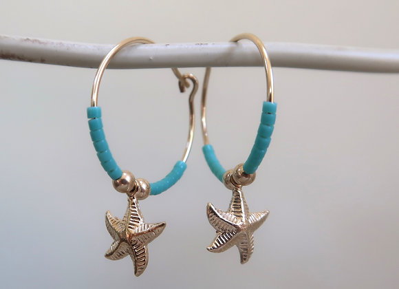 Gold Filled Turquoise Starfish