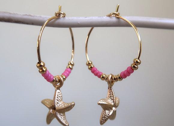 Pink Starfish (Small hoop)