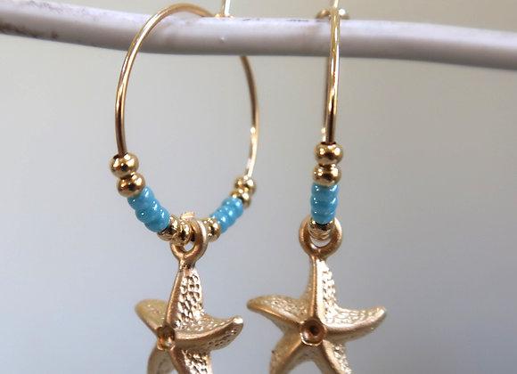 Blue Turquoise Starfish (Small hoop)