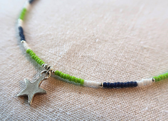 Silver Star -Navy & Lime