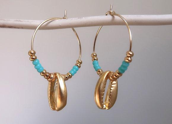 Turquoise Shells (Small hoop)