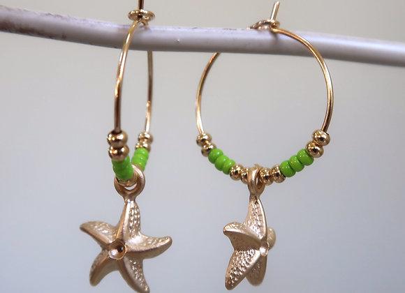 Lime Starfish (Small hoop)