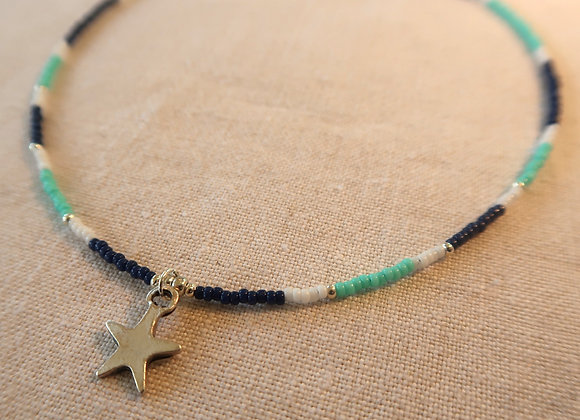 Silver Star - Navy, White & Turquoise