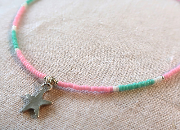 Silver Star - Pink & Turquoise