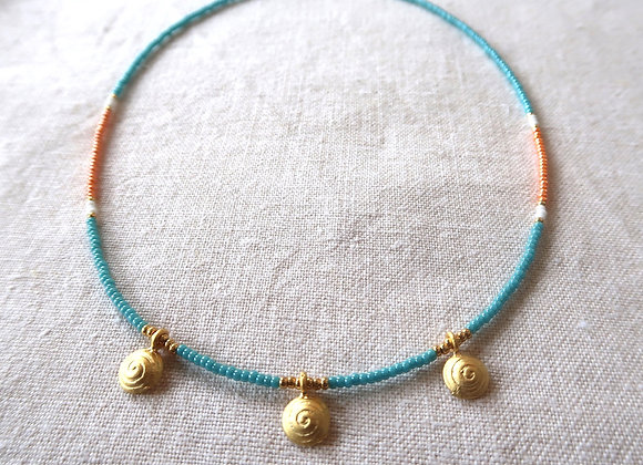 3 Gold Coins - Turquoise & Orange