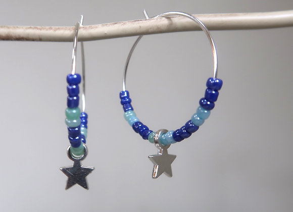 Blue/Navy Star (Medium Hoop)