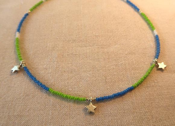 3 Stars Silver - Green & Blue