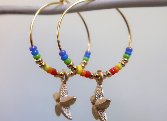 Rainbow Starfish (Medium hoop)