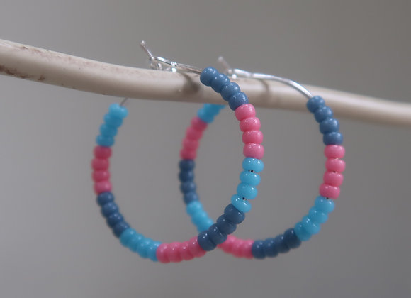 Pink/ Blue (Small Hoop)