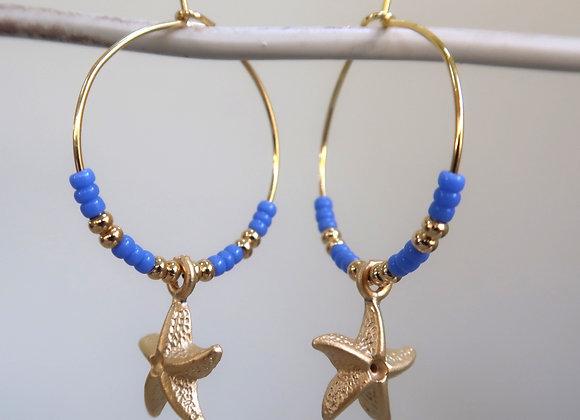 Blue Starfish (Medium hoops)
